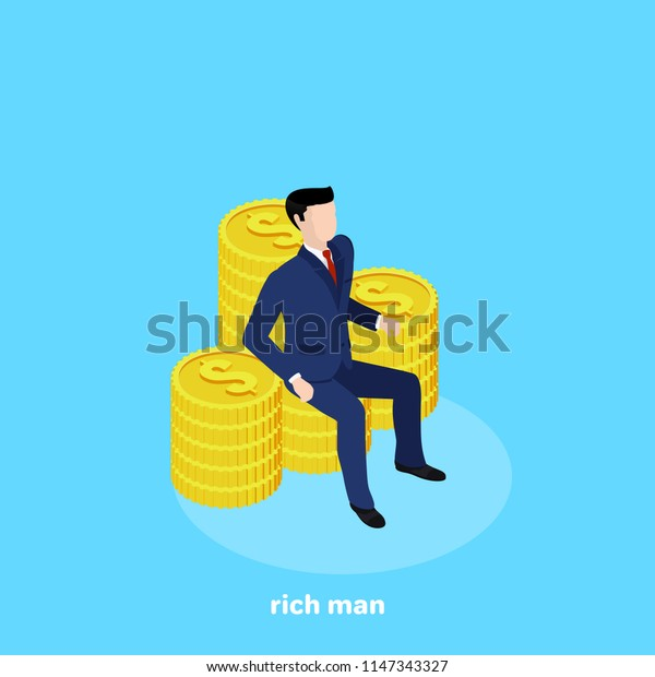 a man in a business suit sits on a coin-made armchair, an isometric image