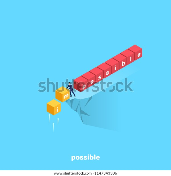 a man in a business suit standing on the edge of the abyss dumps unnecessary cubes with letters, isometric image