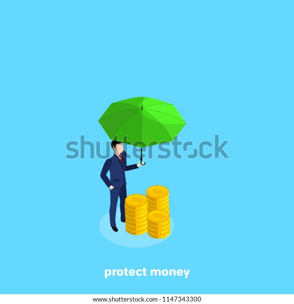 a man in a business suit stands next to a pile of coins , an isometric image