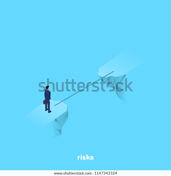a man in a business suit stands on the brink of a precipice through which a thin bridge, an isometric image