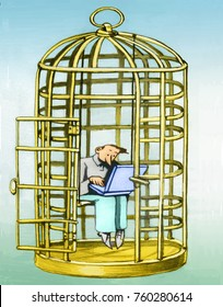 a man in the cage of a bird does not run away because he is distracted from the computer