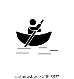 Man canoe river boat adventure icon. Element of pictogram adventure illustration