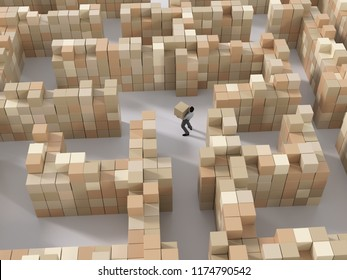 man carries boxes in the warehouse, 3d illustration