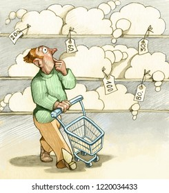 man with cart reimburses in supermarket he looks doubtful a shelf full of dreams with the label of the price humoral pencil conceptual draw