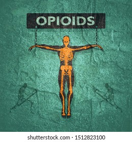 Man chained to opioids word. Unhealth addiction metaphor.