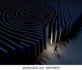 Man, character exploring, investigating entrance of fingerprint maze, 3d rendering