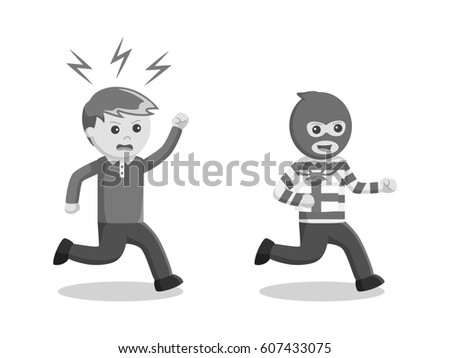 Man Chasing His Gift Stolen By Stock Illustration 607433075