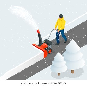 A man cleans snow from sidewalks with snowblower. City after blizzard. Isometric  illustration