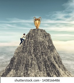Man climbing on a mountain cliff to the cup target.  This is a 3d render illustration