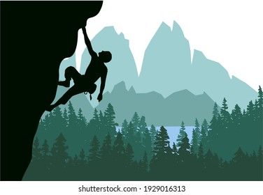 Man climbing rock overhang. Mountains and forest in the background. Silhouette of climber with green background. Illustration.