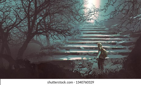 man climbing stone stairs in the mysterious forest, digital art style, illustration painting