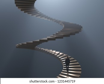man climbs the spiral staircase, 3d illustration