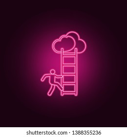 a man climbs the stairs icon. Elements of Sucsess and awards in neon style icons. Simple icon for websites, web design, mobile app, info graphics
