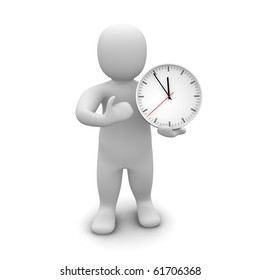 Man and clock. 3d rendered illustration.