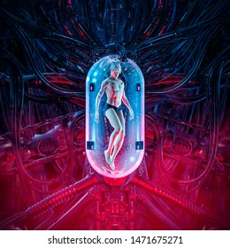 The man clone pod / 3D illustration of science fiction scene showing human male figure inside complex futuristic alien incubator cloning machinery