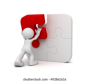 man completing the puzzle concept   3d illustration