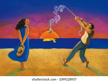 man courts woman staging a romantic sunset surreal painting relationship between opposites archetypes of masculine and feminine