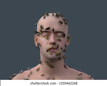 man covered with beetles, 3d illustration