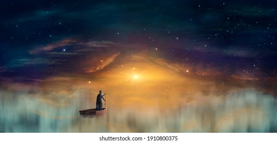 Man in cowl, magician floating on ship in clouds at sunset sky with stars. Digital painting, 3D rendering