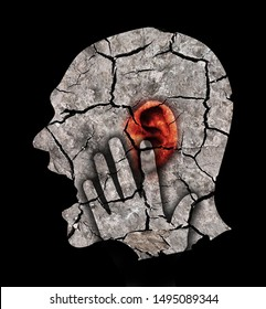 Man with cracked ear and head, symbolizing tinnitus and ear problems. Male head stylized profile. Photomontage with dry cracked earth. Concept symbolizing tinnitus, depression.