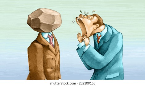 a man cries in vain to another man who can not hear because it has a stone for a head her message is not heard surreal hand made draw allegory of comunication funny cartoon