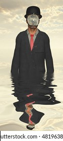 Man in dark suit hidden face partly underwater  3D Render