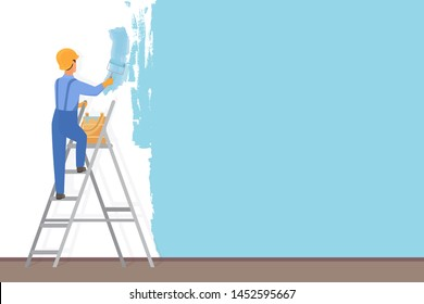 Man decorator painter with a paint roller painting a color wall. Upgrade and repair process concept. Website reconstruction illustration.