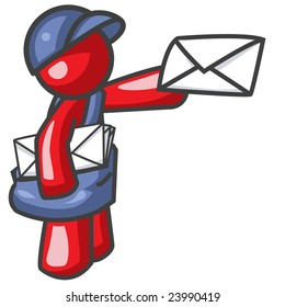 man delivering mail. Good concept for e-mail or distance communication.