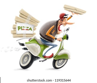 man delivering pizza on bicycle illustration isolated on white background