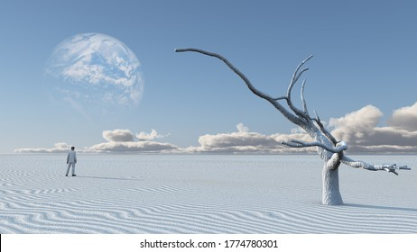 Man in desert with bare tree and moon. Surreal haunting landscape. 3D rendering