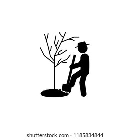 man digging icon. Element of gardening icon for mobile concept and web apps. Glyph digging can be used for web and mobile