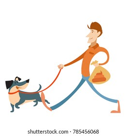Man with its dog and a bag for gogs poop
