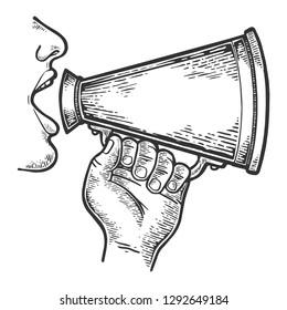 Man doing loudspeaker speech engraving raster illustration. Scratch board style imitation. Black and white hand drawn image.