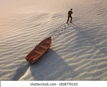 man drags a boat through the desert, 3d illustration