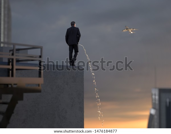man drains liquid from the roof of a skyscraper, 3d illustration