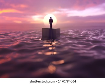 man drifts in the ocean, 3d illustration