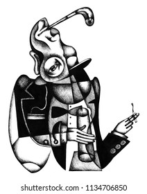 Man with drink and pipe