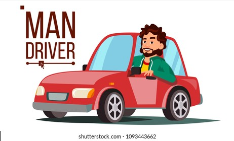 Man Driver. Sitting In Modern Automobile. Buy A New Car. Driving School Concept. Happy Male Motorist. Isolated Cartoon Character Illustration
