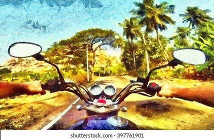 Man driving a motorcycle on tropic road among palm trees oil painting