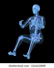 Man driving a virtual car, 3D mesh other skeleton model. 3D illustration concept