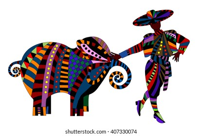 man and elephant in the abstract style on a white background