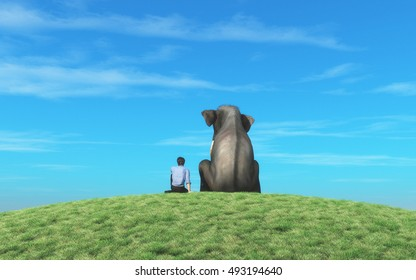 Man and an elephant sits on top of  a hill and look to the horizon together. This is a 3d render illustration