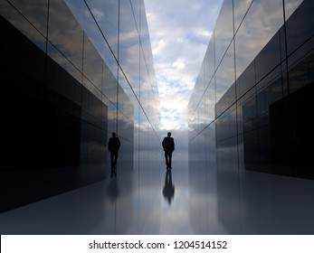 man at the end of the mirror tunnel, 3d illustration