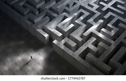 Man entering a huge mysterious maze. Business and life concept. 3D Rendering