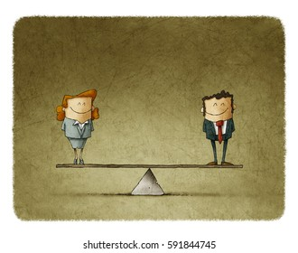 Man is equal to woman business concept