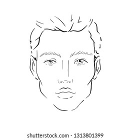 Man Face chart Makeup Artist Blank. Template illustration.