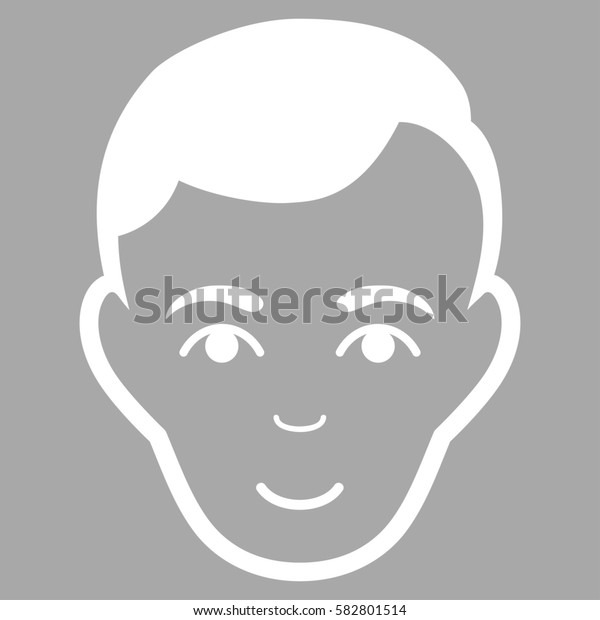 Man Face glyph icon. Flat white symbol. Pictogram is isolated on a silver background. Designed for web and software interfaces.