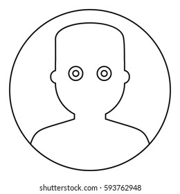 Man face with wide eyed icon. Outline illustration of man face with wide eyed  icon for web