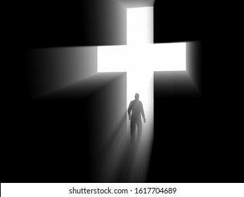 The man of faith. Silhouette of a man entering a luminous opening in the wall in the shape of a cross. 3d rendering illustration.