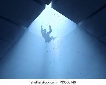 man falling into a hole, 3d illustration